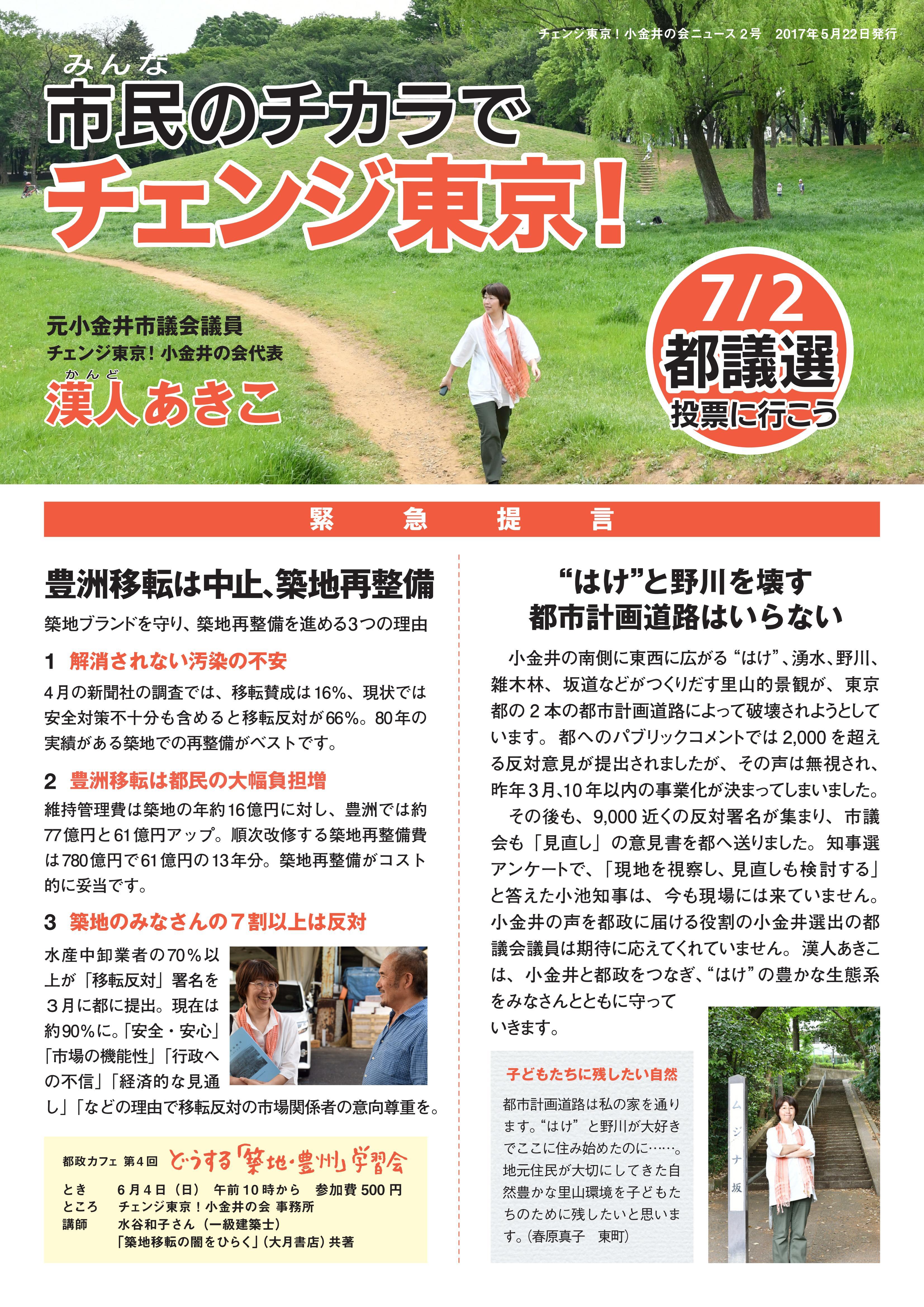 チェンジ東京!小金井の会ニュース 2号-表