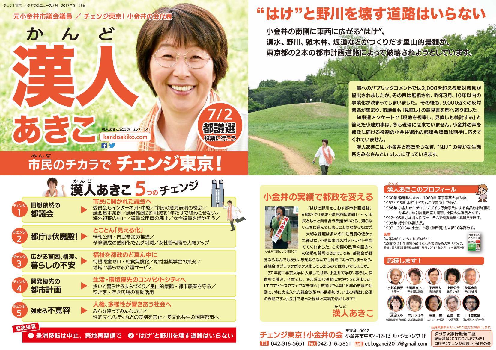 チェンジ東京!小金井の会ニュース 3号-表