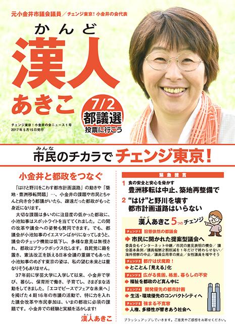 チェンジ東京!小金井の会ニュース 1号-表
