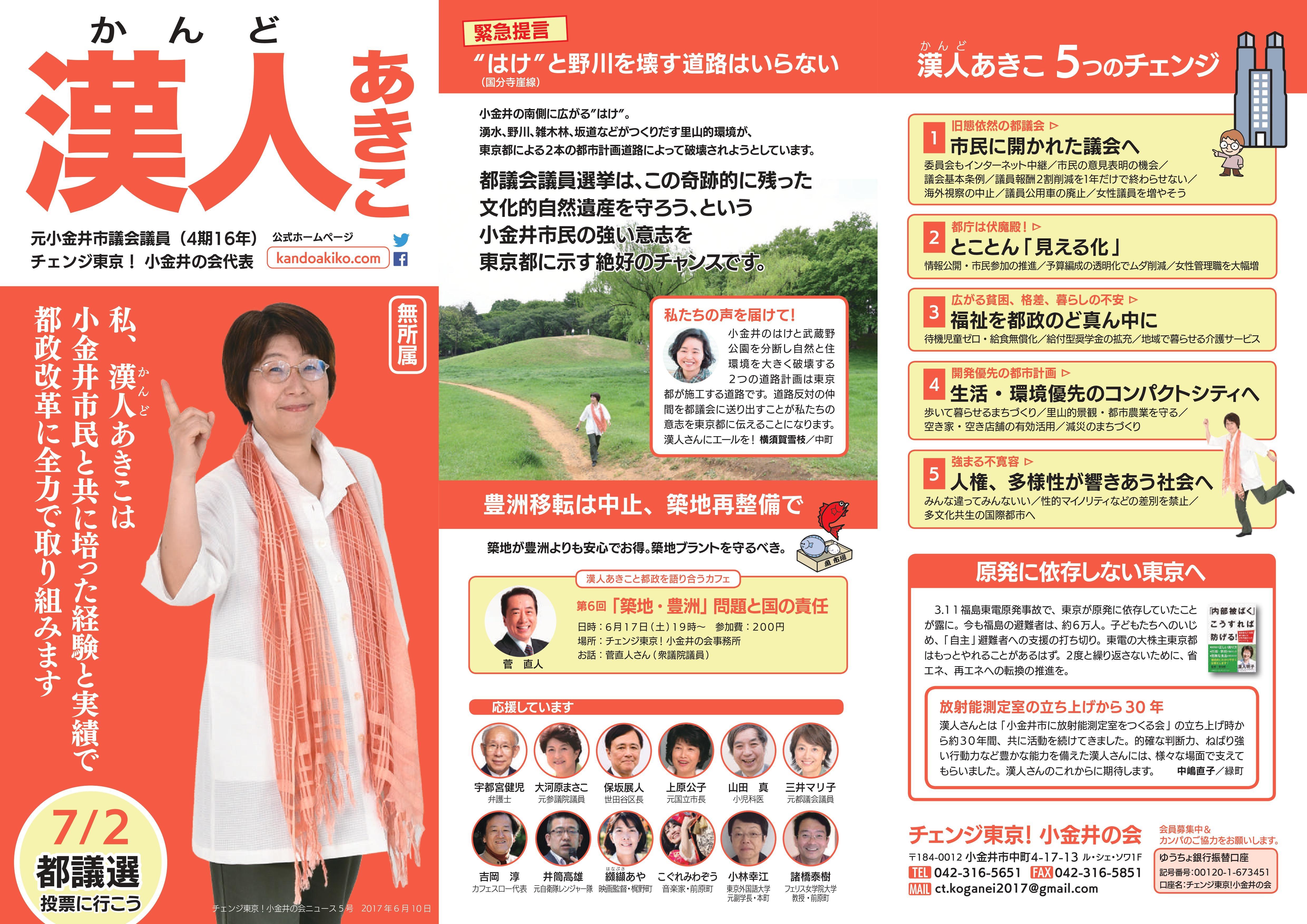 チェンジ東京!小金井の会ニュース 5号-表