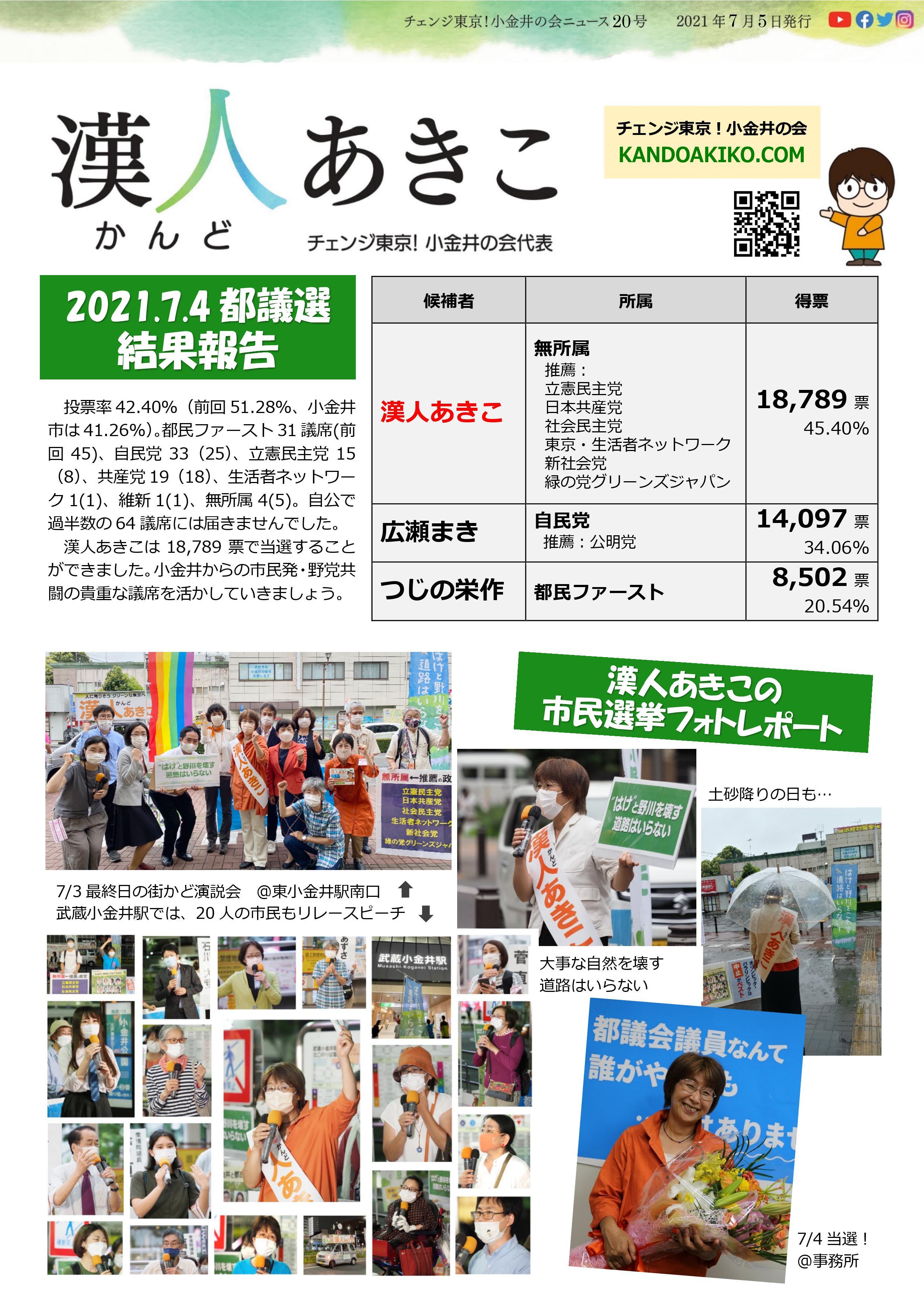 ニュース20号(都議選速報)